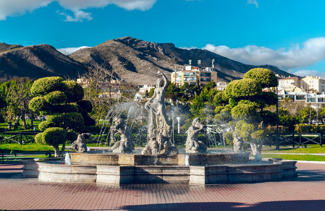 'Beautiful fountain in the Battery Park (Parque La Bateria), Torremolinos. Spain' - Andalusien